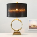 Fabric Shaded Table Light Modernist 1 Head Gold Nightstand Lamp with Crystal Bead