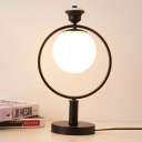 1 Head Bedside Desk Lamp Modern Black Reading Book Light with Globe White Glass Shade