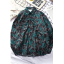 Stylish Dark Green Long Sleeve Lapel Neck Button Down All Over Bird Pattern Flap Pockets Loose Fit Shirt for Men