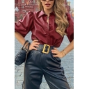 Cool Street Girls' Puff Sleeves Lapel Collar Button Front Solid Color Relaxed Fit Shirt