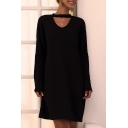 Cool Chic Black Long Sleeve Crew Neck Cut Out Mini Shift Formal Dress for Ladies