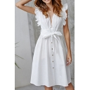 Amazing White Ruffle Sleeves Deep V-Neck Cut Out Bow Tie Waist Button Down Midi A-Line Dress