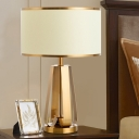 Gold Cylinder Task Light Modernism 1 Head Fabric Small Desk Lamp for Living Room