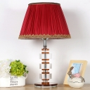 Contemporary 1 Bulb Desk Light Red Wide Flare Night Table Lamp with Fabric Shade