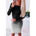 Fashion Women's Long Sleeve Round Neck Ombre Mini Tight T-Shirt Dress