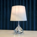 Contemporary Diamond Table Light Faceted Crystal 1 Head Small Desk Lamp in White