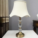 Modernism Bell Desk Light Fabric 1 Head Night Table Lamp in Gold with Braided Trim