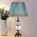 Contemporary 1 Head Reading Light Blue Wide Flare Night Table Lamp with Fabric Shade