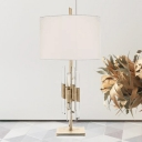 Straight Sided Shade Table Lamp Contemporary Fabric 1 Head Reading Book Light in White