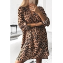 Fashion Women's Roll Up Sleeves V-Neck Leopard Pattern Belted Short A-Line Dress