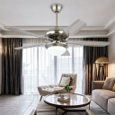 LED Semi Flushmount Contemporary 5 Blades Metallic Ceiling Fan Lighting in Silver for Bedroom, 50