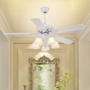 5 Lights Bell Ceiling Fan Lamp Modern White Opal Glass Semi Flush Mount Lamp with 5 Blades for Living Room, 48