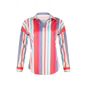 Classic Women's Long Sleeve Lapel Collar Stripe Printed Relaxed Fit Shirt in Red