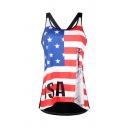 Pretty Girls Sleeveless Round Neck USA Flag Graphic Hollow Out Back Relaxed Fit Tank Top in Red