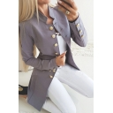 Formal Women's Plain Long Sleeve Stand Collar Button Down Plain Slim Fit Blazer