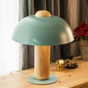 1 Head Living Room Task Light Modern White/Blue Night Table Lamp with Bowl Metal Shade