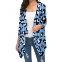 Cool Fashion Women's Long Sleeve Draped Front Leopard Printed Relaxed Fit Cardigan