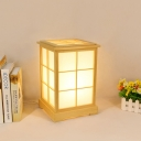 1 Head Bedroom Desk Light Japanese Beige Night Table Lamp with House Wood Shade