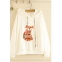 Fashionable Girls' Long Sleeve Drawstring Fox Embroidery Loose Fit Hoodie