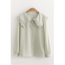 Lovely Women's Long Sleeve Peter Pan Collar Button Down Solid Color Relaxed Fit Shirt