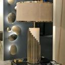 Fabric Cylinder Task Lighting Modernism 1 Bulb Gold Night Table Lamp for Bedside