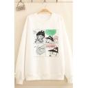 Kpop Girls' Long Sleeve Crew Neck Comic Printed Loose Fit Pullover Graphic Sweatshirt