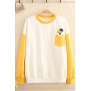 Fancy Women's Long Sleeve Crew Neck Pocket Dog Embroidered Color Block Relaxed Pullover  Sweatshirt