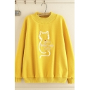 Fashionable Women's Long Sleeve Crew Neck Letter LIFE IS BETTER WITH CATS Cat Graphic Embroidery Loose Sweatshirt