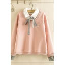 Pretty Girls' Long Sleeve Lapel Neck Bow Tie Letter STAND BY ME Graphic Embroidery False Two Piece Scallop Edge Relaxed Sweatshirt