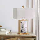 Modernism Rectangle Task Lighting Fabric 1 Bulb Small Desk Lamp in White for Study