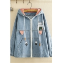 Stylish Girls' Long Sleeve Ears Hooded Drawstring Zipper Front Mouse Embroidered Loose Fit Denim Jacket in Blue