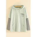 Preppy Girls' Long Sleeve Funny Cat Print Striped Patchwork Relaxed Fit Hoodie with Pocket