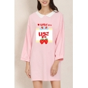 Stylish Women's Long Sleeve Lapel Collar Japanese Letter Strawberry Graphic Slit Side Loose T Shirt