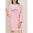 Cute Fashion Girls Long Sleeve Lapel Neck SEVENTEEN Gesture Graphic Longline Oversize Tee