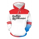 Fancy Cool Long Sleeve Drawstring Colorblocked Letter Print Comic Cosplay Relaxed Hoodie with Pocket