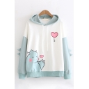 Korean Style Long Sleeve Dinosaur Heart Graphic Colorblocked Drawstring Oversize Hoodie for Girls