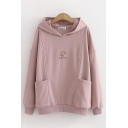 Pink Pretty Long Sleeve Dog Graphic Pockets Side Loose Fit Hoodie for Women