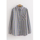 Classic Girls Long Sleeve Lapel Neck Button Down Plaid Patterned Flap Pocket Embroidery Relaxed Shirt