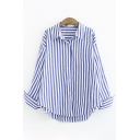 Basic Ladies Roll-Up Sleeves Lapel Neck Button Down Stripe Patterned Curved Hem Relaxed Fit Shirt