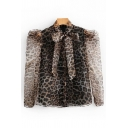 Trendy Womens Puff Sleeve Bow Tie Neck Leopard Patterned Semi-Sheer Mesh Botton Down Relaxed Blouse Top in Brown
