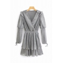 Formal Long Sleeve Surplice Neck Ruffled Trim Short Tiered A-Line Pleated Dress in Grey