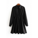 Fashionable Girls Long Sleeve Lapel Collar Button Down Gathered Waist Mid A-Line Pleated Shirt Dress in Black