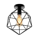 Cage Style Diamond Shape Semi Flush Ceiling Light in Black Finish