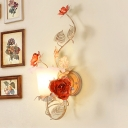 Swooping Arm Bedroom Wall Light Traditional Metal 1 Head Coffee Wall Sconce Lamp with Rose