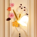Flared Living Room Wall Sconce Countryside Metal 1 Light White Wall Lighting Fixture with Rose and Leaf, Left/Right