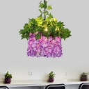 Industrial House Flower Down Lighting 1 Bulb LED Metal Pendant Light in Purple for Restaurant