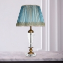1 Head Cone Nightstand Lamp Contemporary Hand-Cut Crystal Reading Book Light in Blue