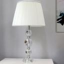 Modernism Spherical Task Lighting Hand-Cut Crystal 1 Bulb Nightstand Lamp in White