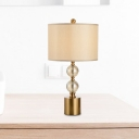 Gold Cylinder Task Lighting Modernist 1 Bulb Fabric Reading Lamp with Metal Base