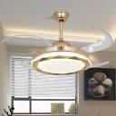 Modern Geometric Ceiling Fan Lighting LED Metal Semi Flush Lamp in Gold with 8 Blades, 42